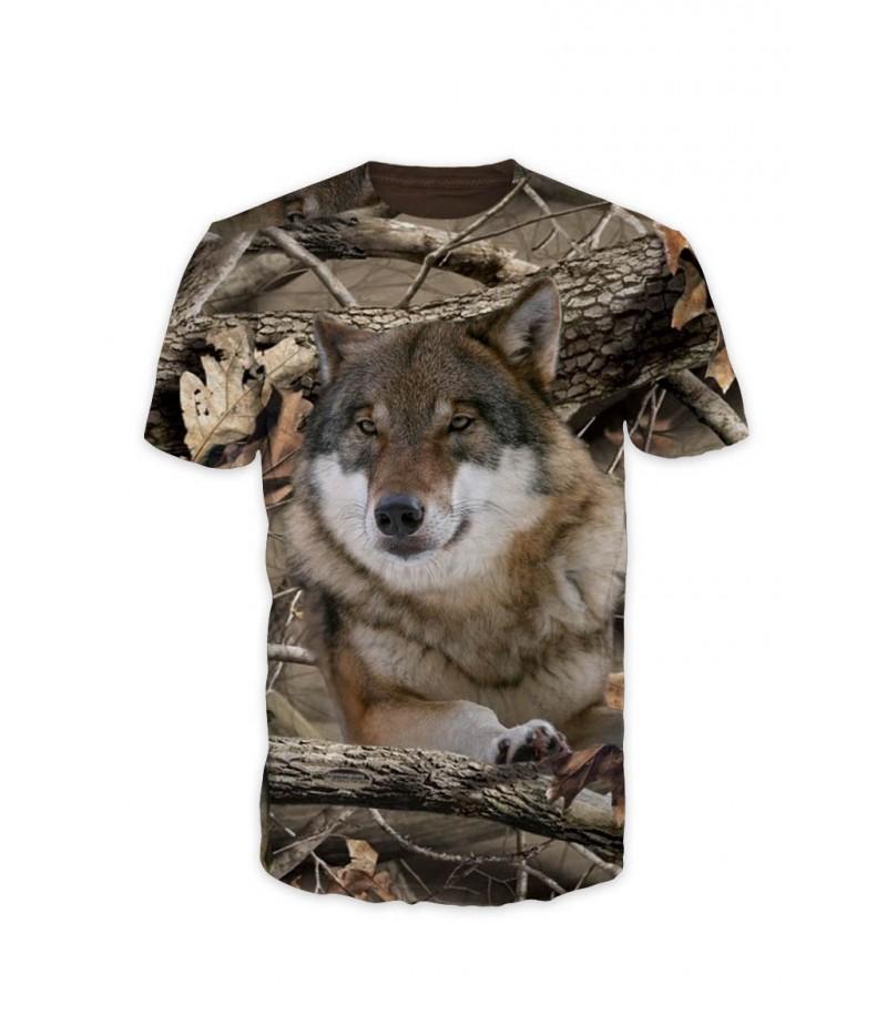 Мъжка тениска  с вълк  в камуфлаж
