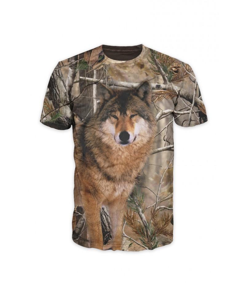 Ловна тениска с вълк и камуфлаж