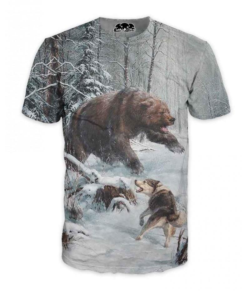 Ловна тениска с мечка и куче