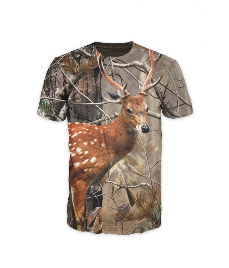 Ловна тениска със сърна и камуфлаж