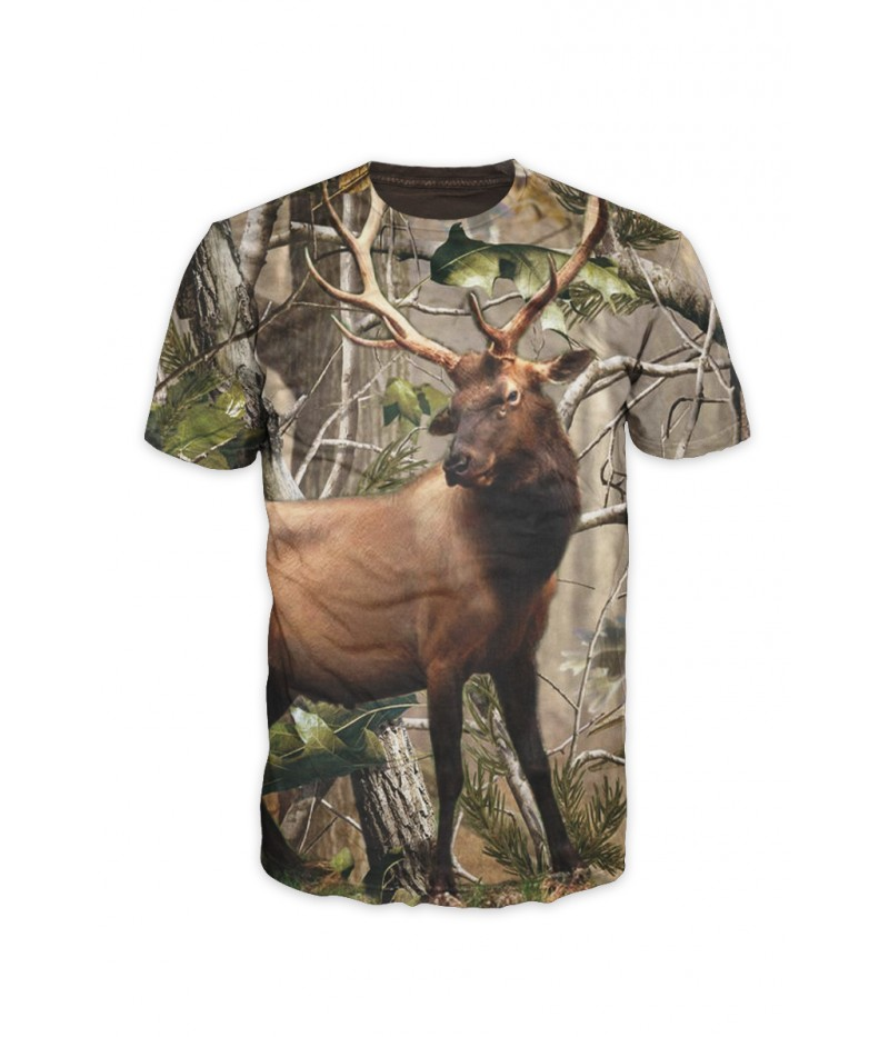 Ловна тениска с елен и камуфлаж