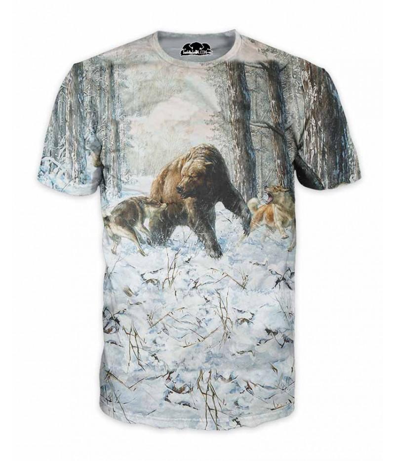 Ловна тениска с мечка и кучета