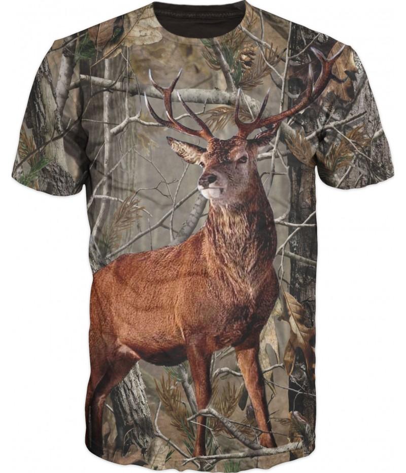 Ловна тениска камуфлаж с елен
