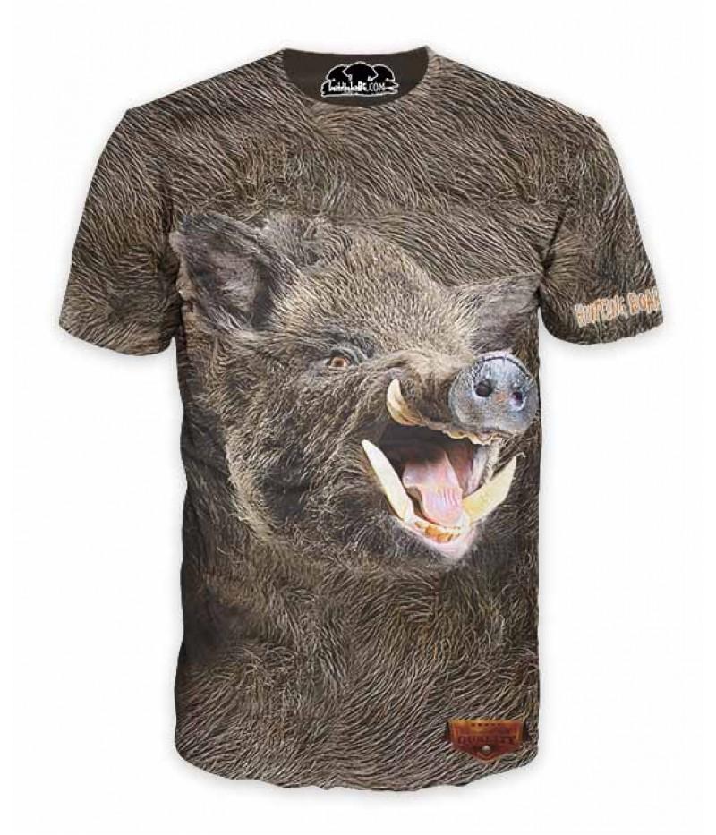 Ловна тениска с глава на глиган върху козина