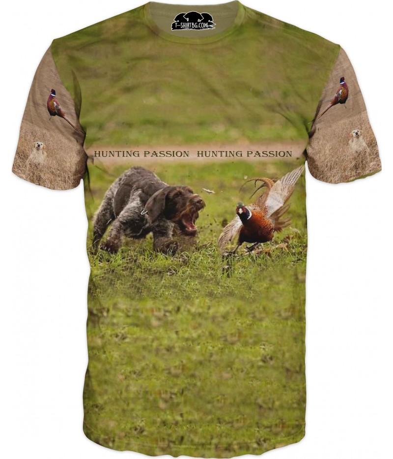 Ловна тениска - куче и фазан