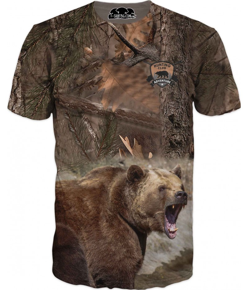 Ловна тениска с мечка в горски камуфлаж