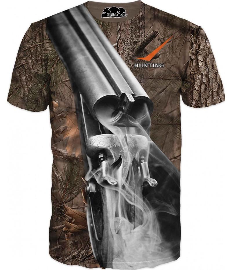 Ловна тениска - пушка на камуфлаж