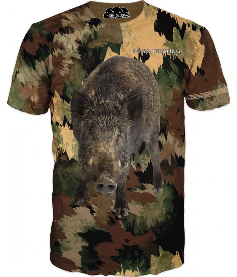 Ловна тениска за фенове - прасе в камуфлаж