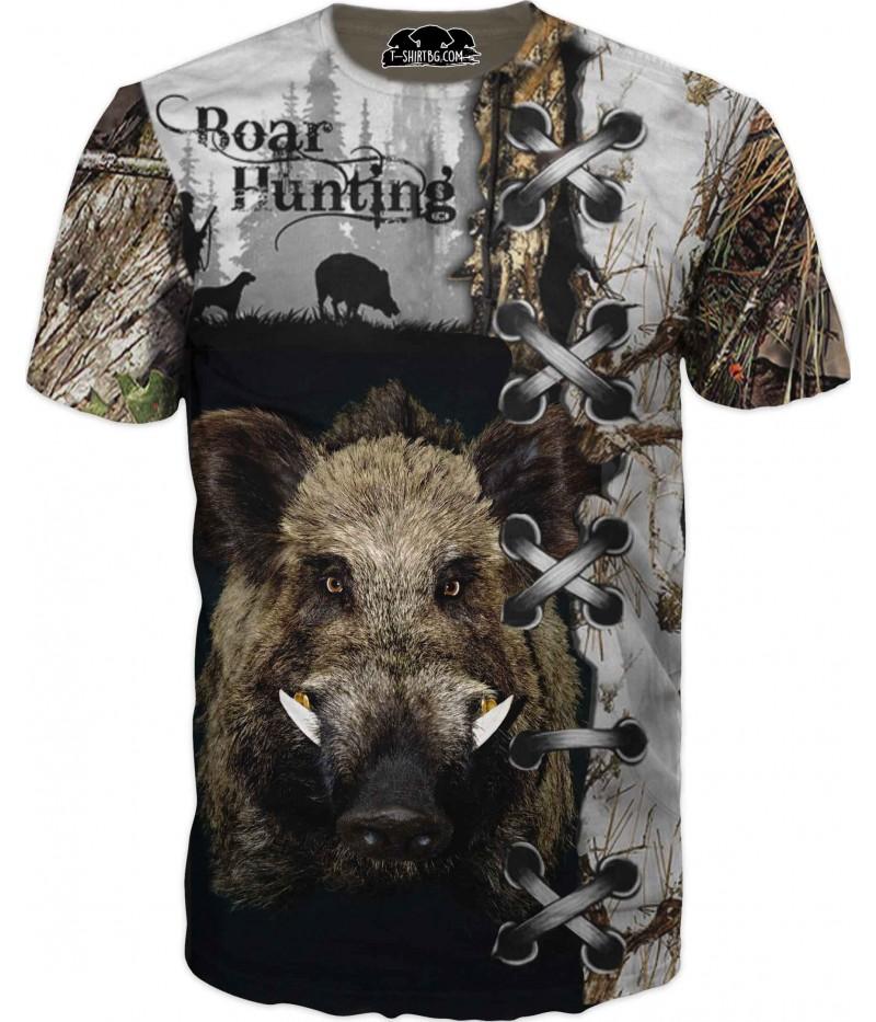 Ловна тениска с глава на прасе - атрактивен камуфлаж