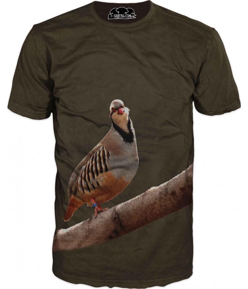 Ловна тениска - пиле на клон