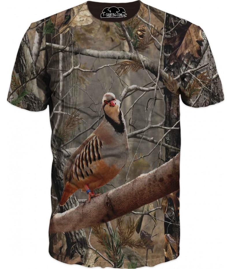 Ловна тениска - пиле на клон в камуфлаж