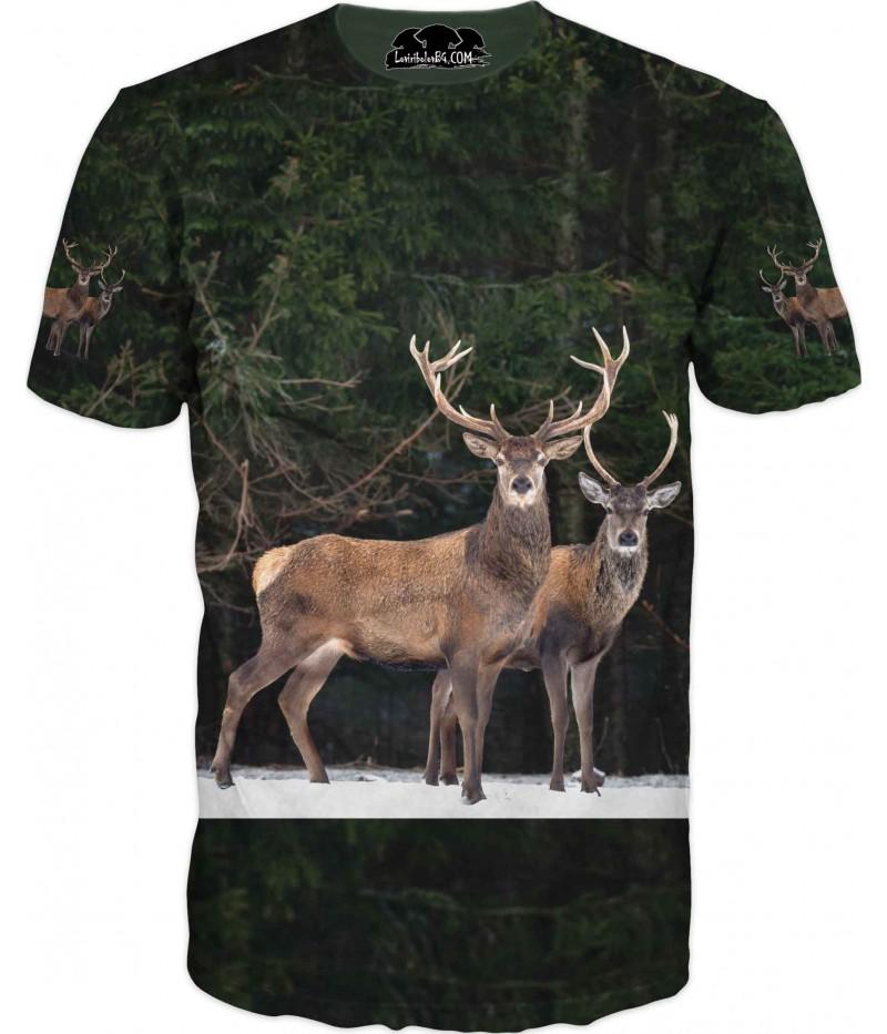 Ловна тениска с два елена