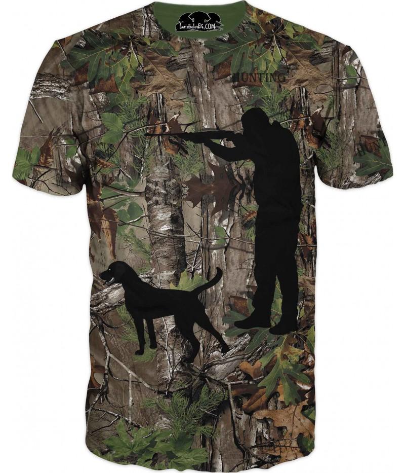 Ловна тениска със силует на ловец и куче