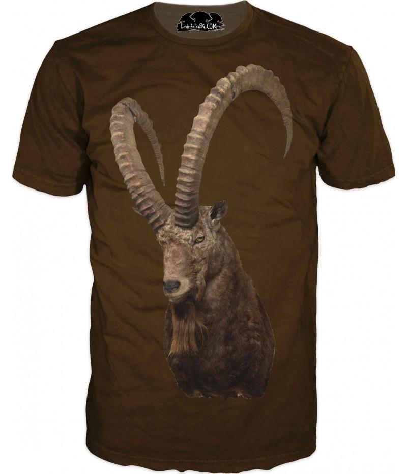 Ловна тениска с козел и големи рога