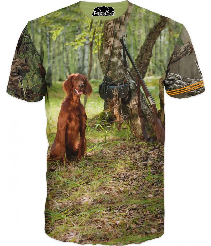 Ловна тениска с куче в гора и пушка