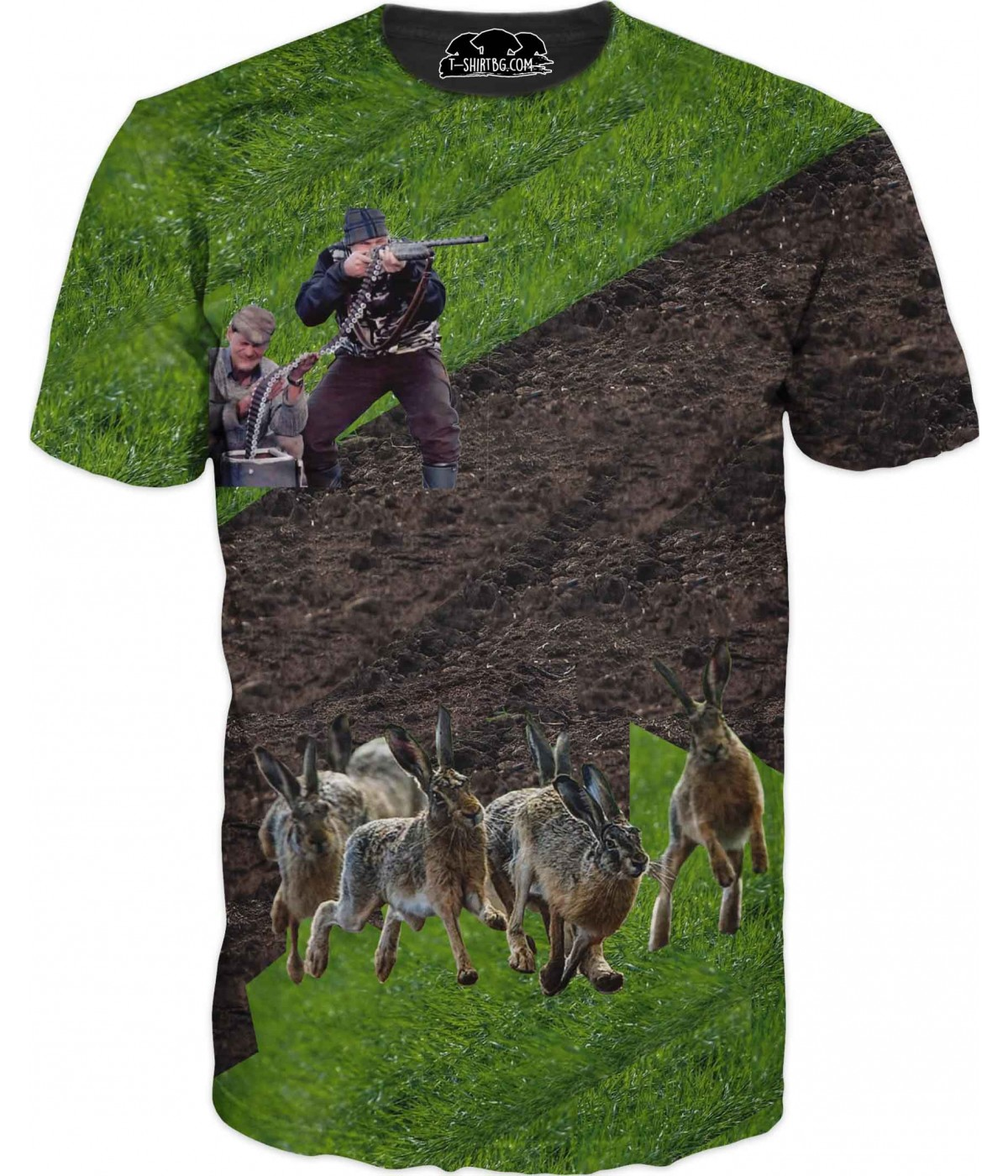 Забавна ловна тениска - ловци и зайци