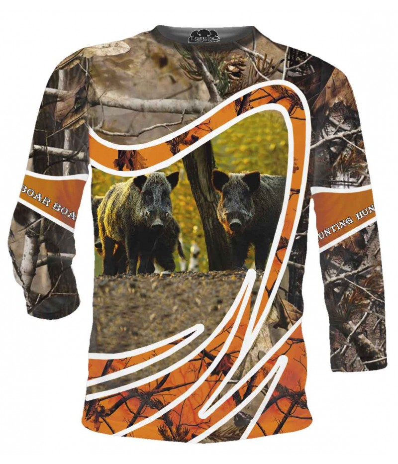 Ловна тениска с две прасета в гора - дълги ръкави