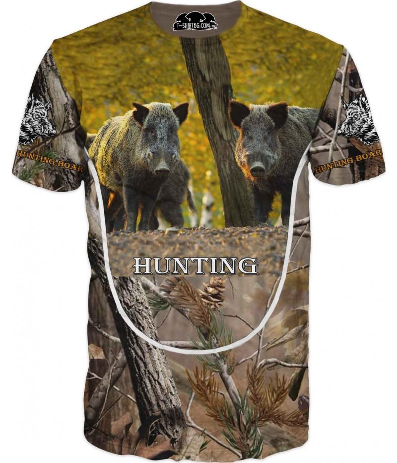 Ловна тениска с две прасета в камуфлаж