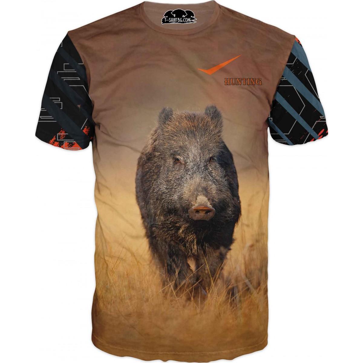 Ловна тениска - Прасе във фон