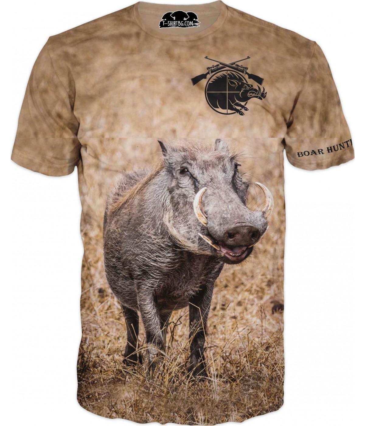 Ловна тениска - диво прасе с емблема