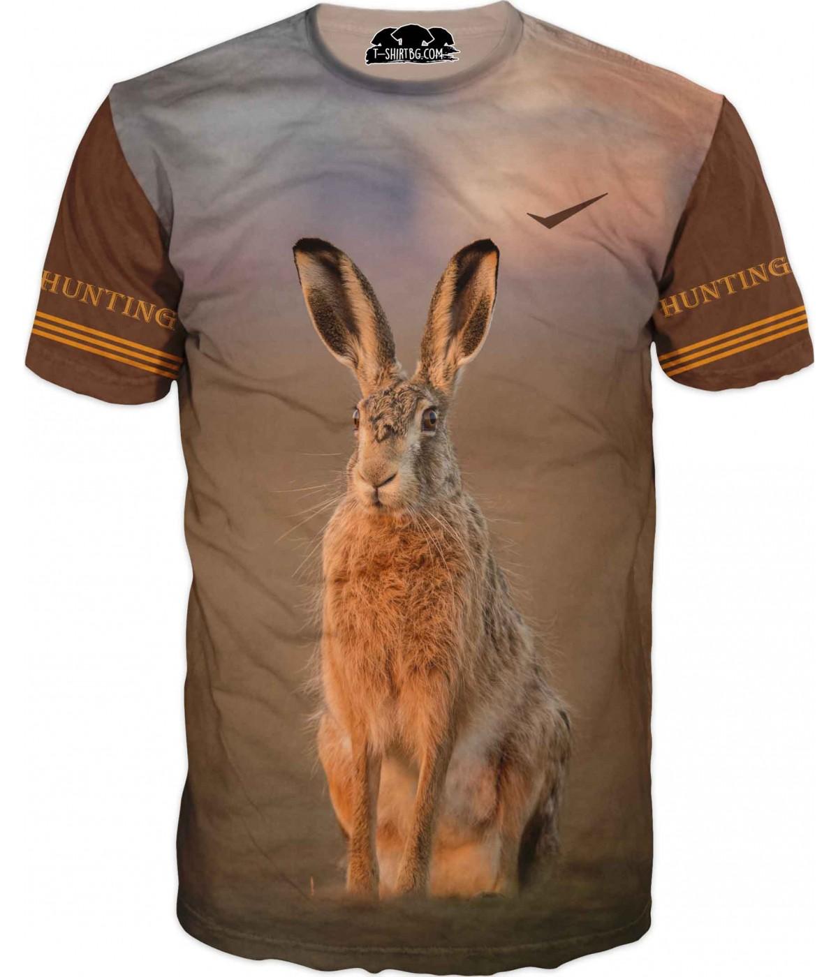 Ловна тениска със заек - кафеви ръкави