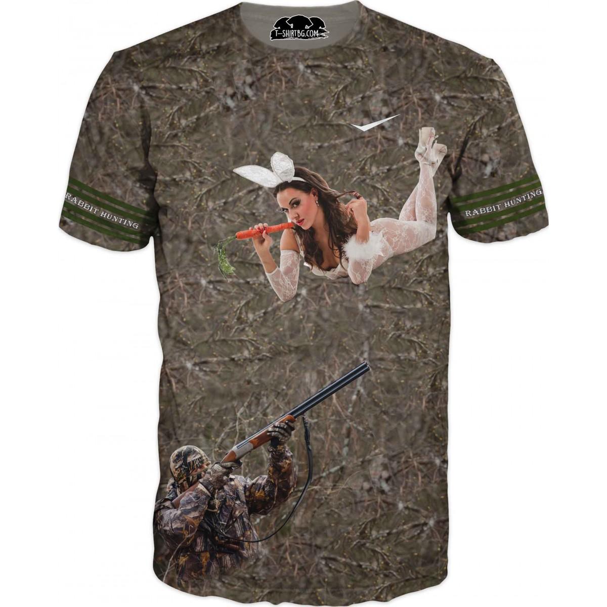 Забавна ловна тениска - ловец и жена