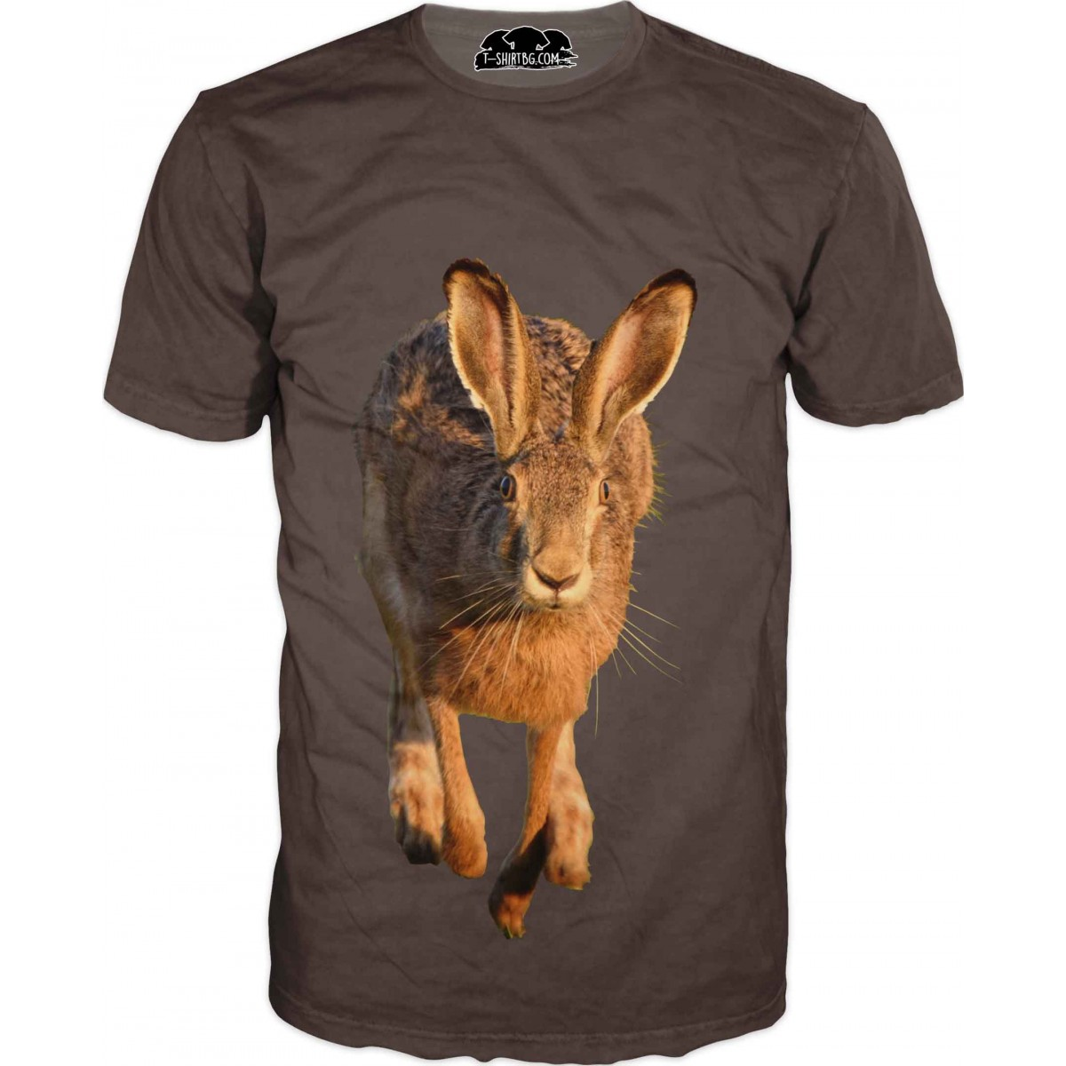 Ловна тениска със заек на кафяв фон