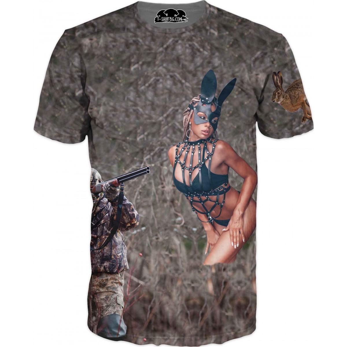 Ловна тениска - ловец и палаво зайче