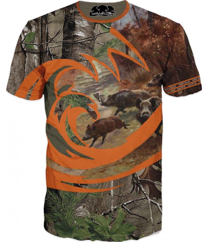 Ловна тениска - диви прасета с камуфлаж