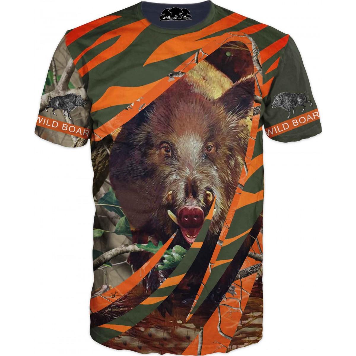 Ловна тениска за любители с диво прасе