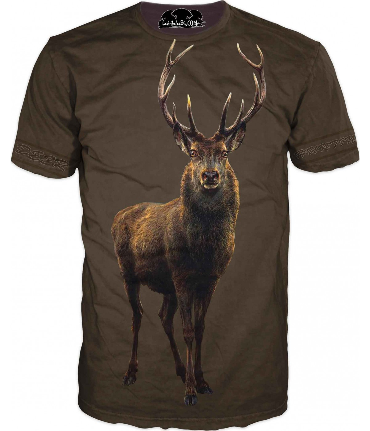 Ловна тениска с елен - кафяв фон