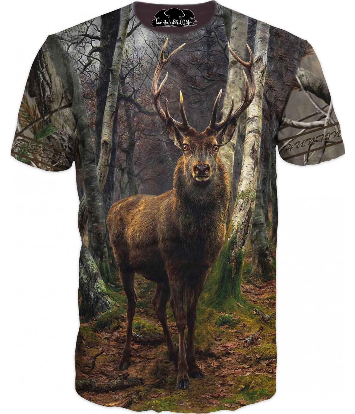 Ловна тениска с елен в гора