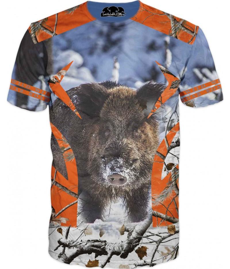 Ловна фен тениска с диво прасе в снежен камуфлаж