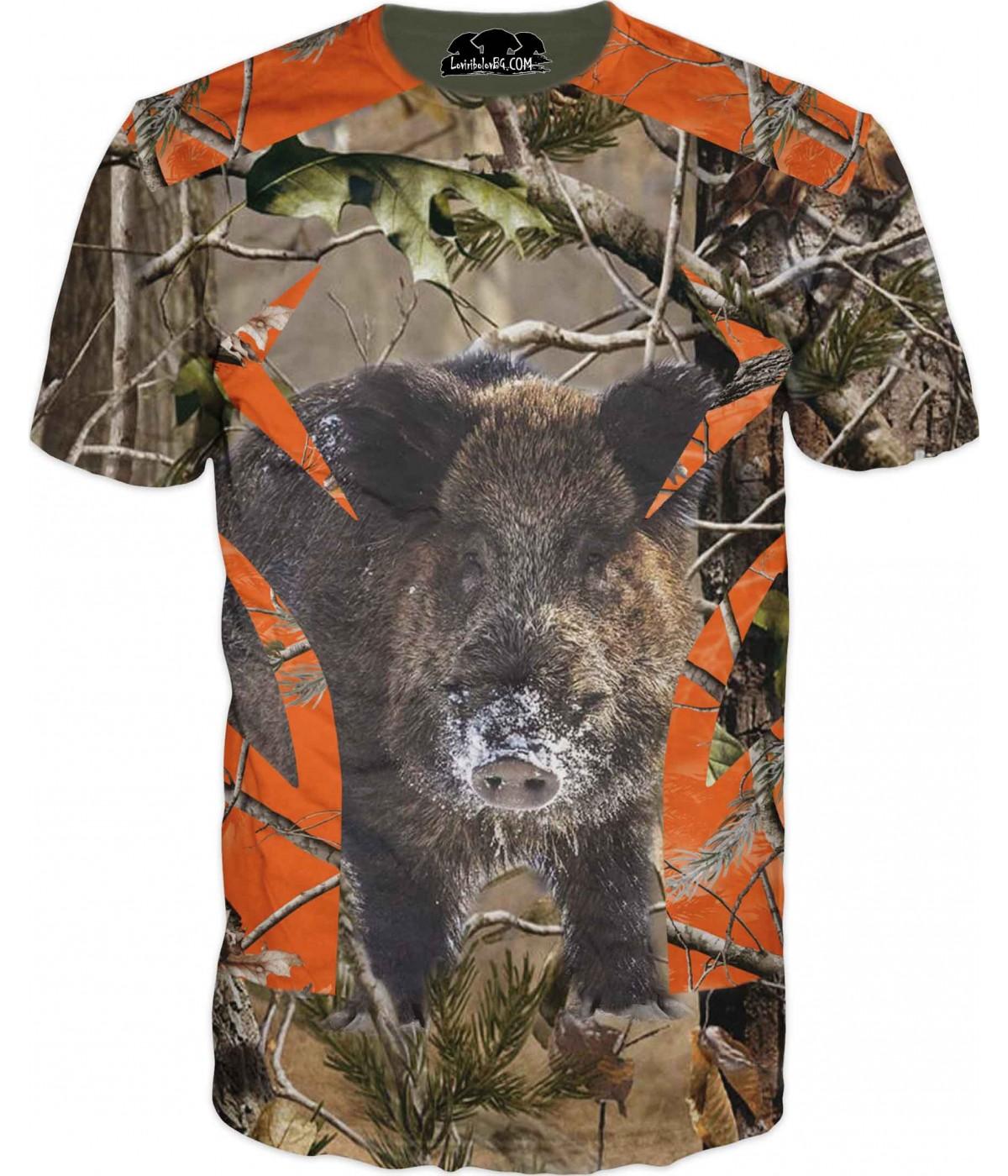 Ловна фен тениска с диво прасе в горски камуфлаж