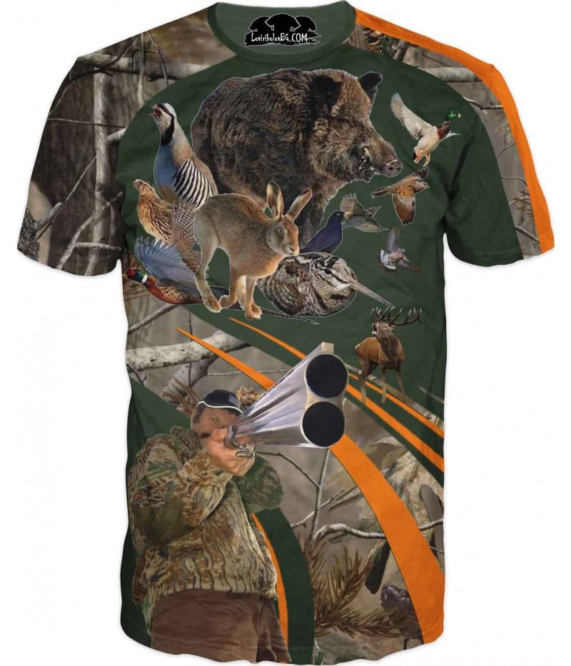 Ловна тениска - ловец на дивеч в камуфлаж