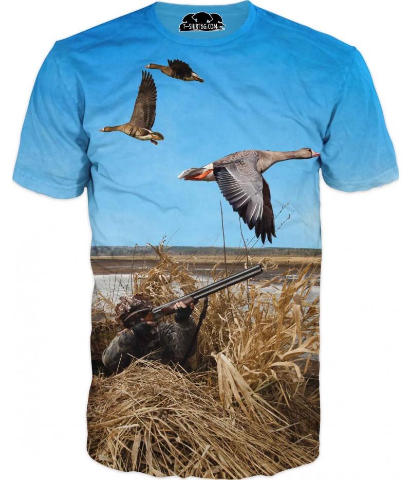 Ловна тениска с ловец и гъски