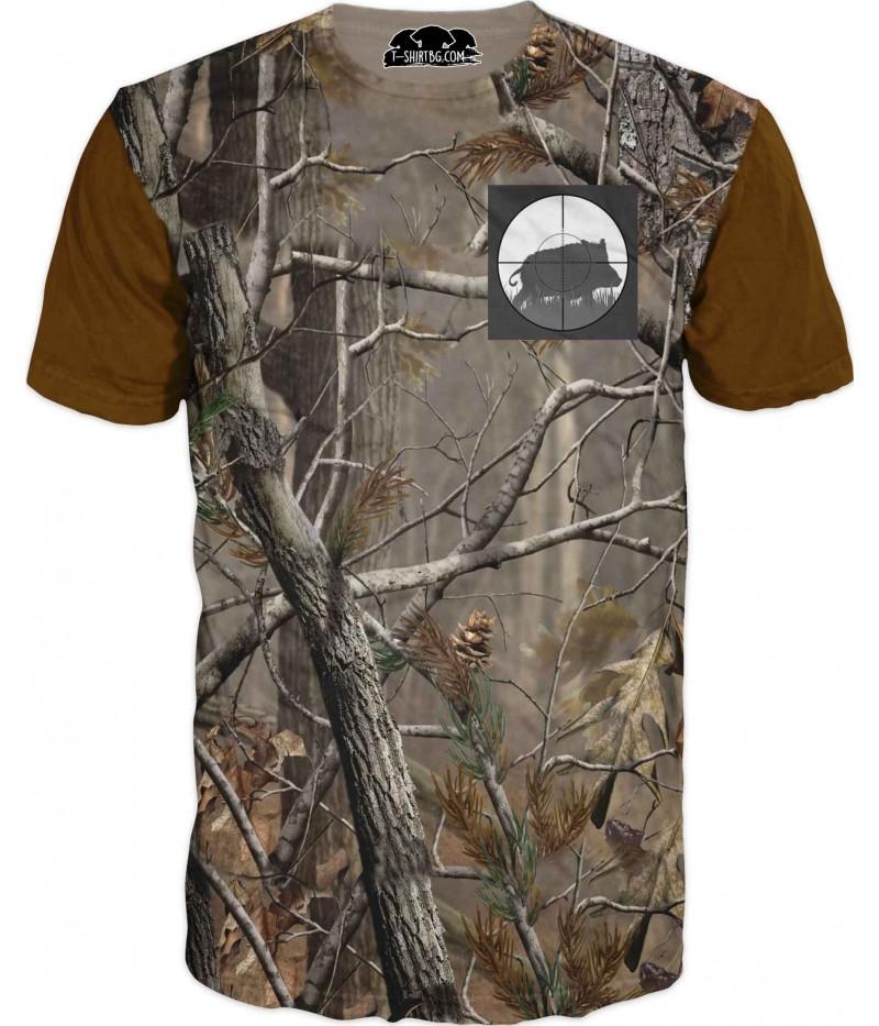 Ловна тениска с камуфлаж - прасе в мерник