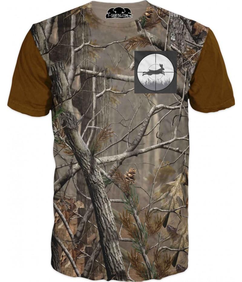 Ловна тениска с камуфлаж - заек в мерник