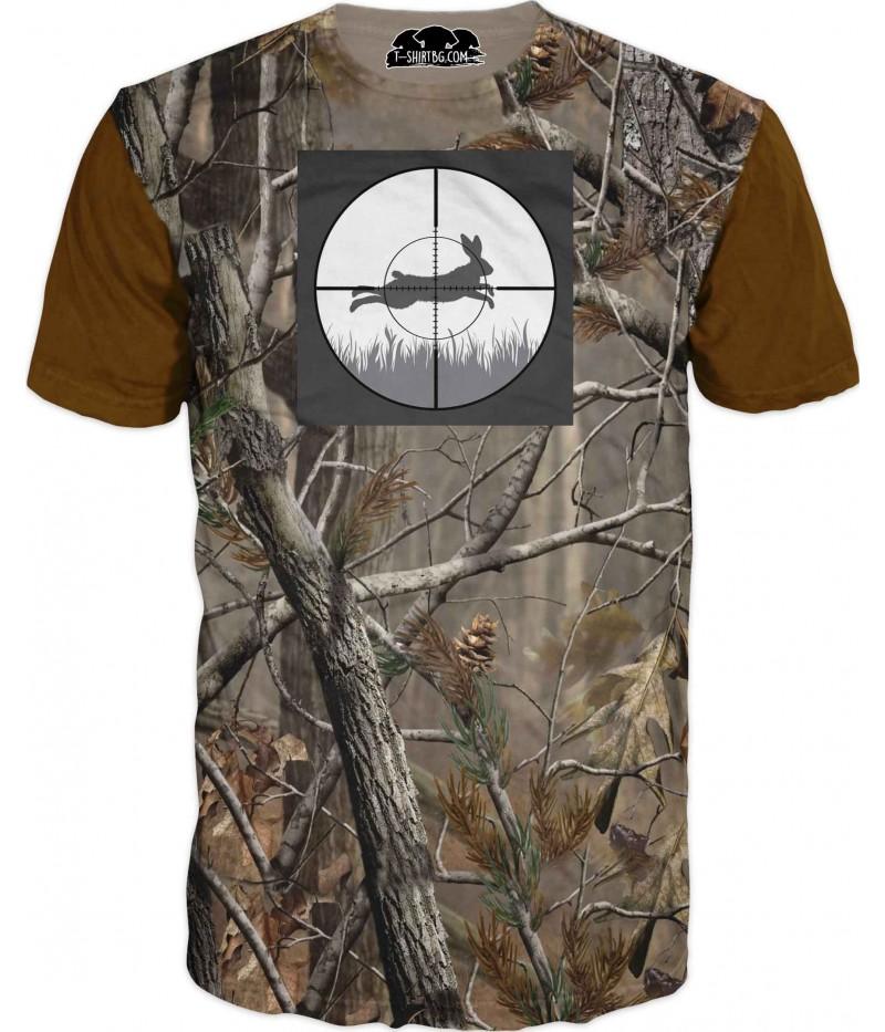 Ловна тениска с камуфлаж - заек в голям мерник