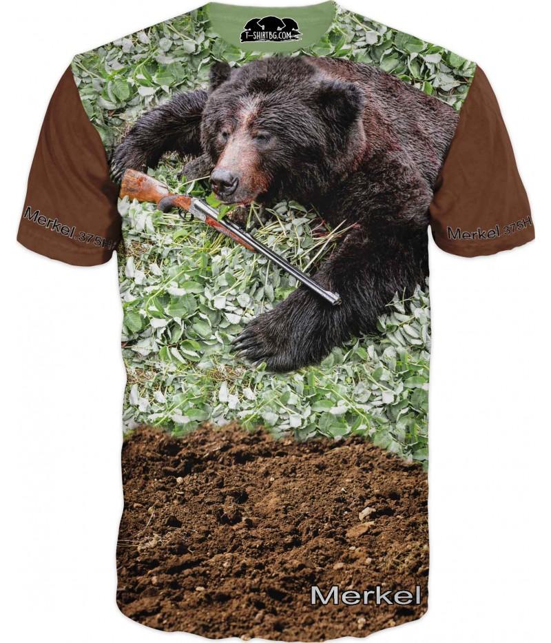 Ловна тениска с мечка и пушка