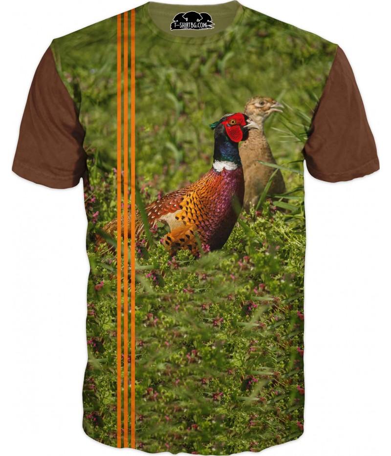 Ловна тениска с фазани в гора