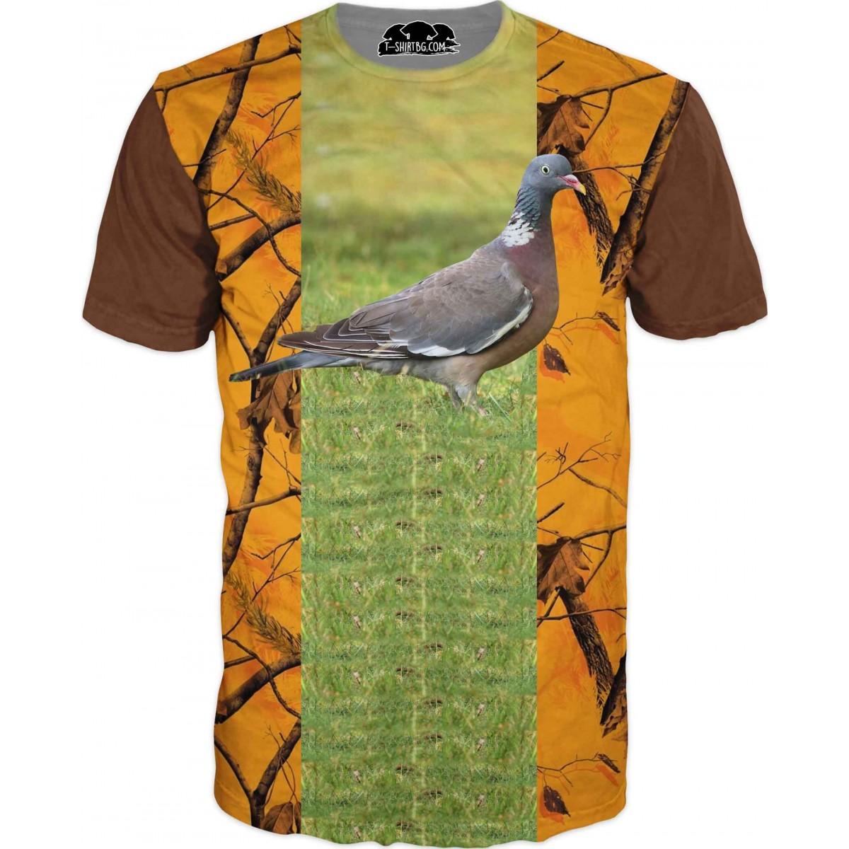 Ловна тениска с гълъб и оранжев камуфлаж