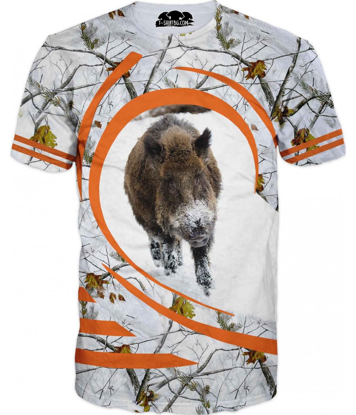 Ловна тениска - диво прасе в зимен камуфлаж