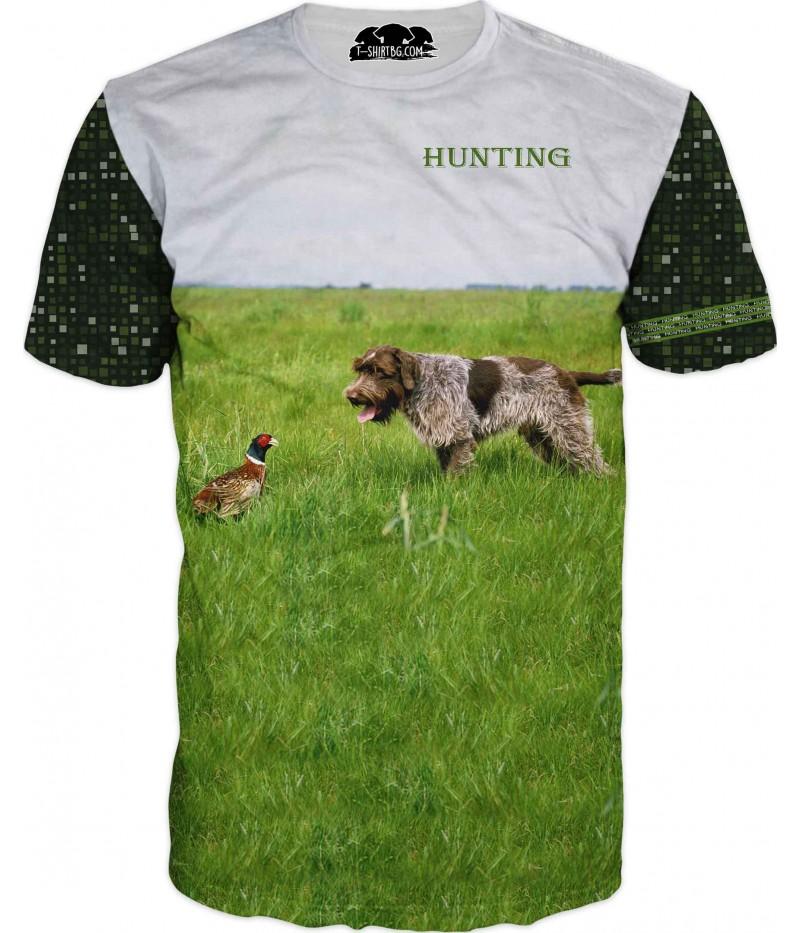 Ловна тениска с куче и фазан на полянка