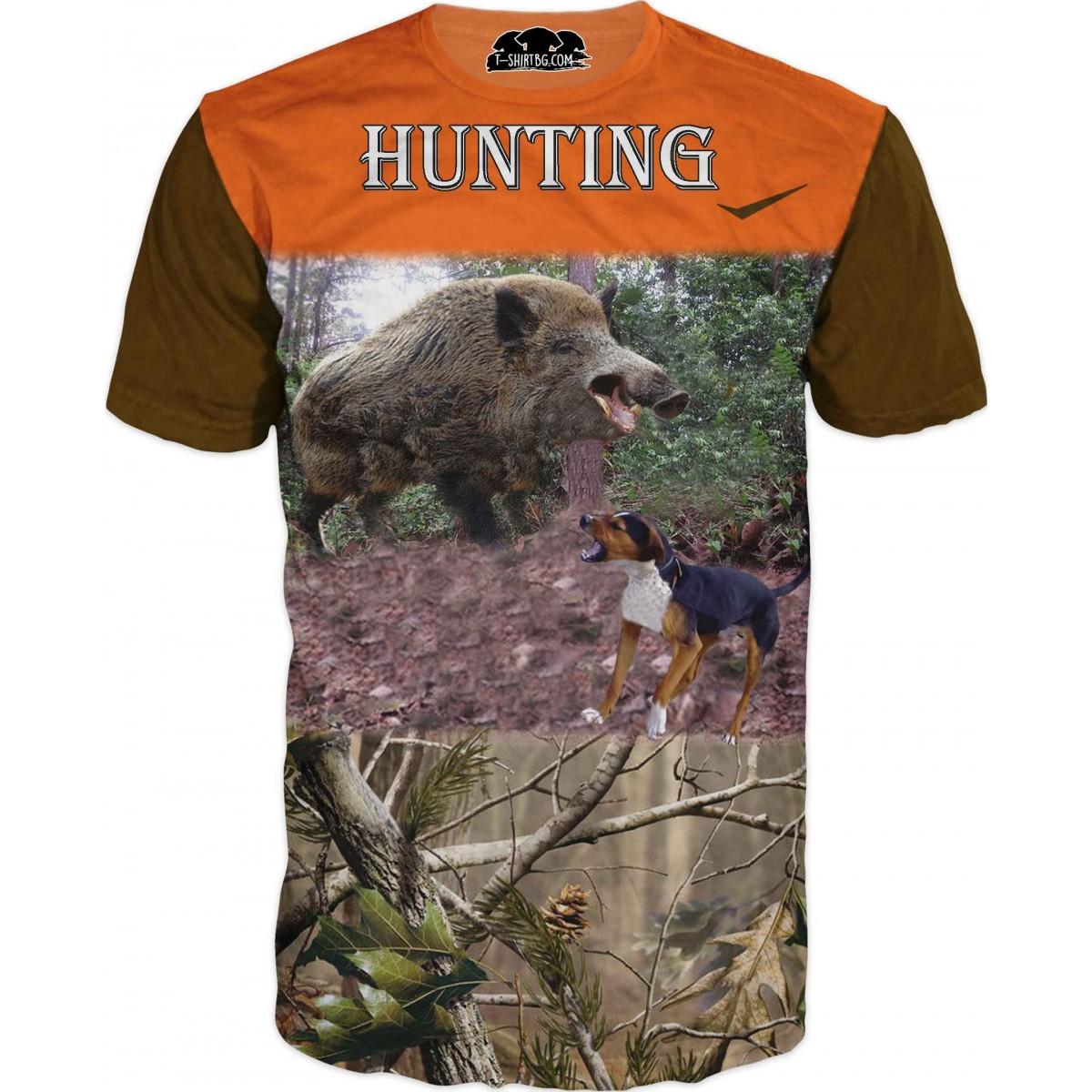 Ловна тениска - двубой с глиган и куче