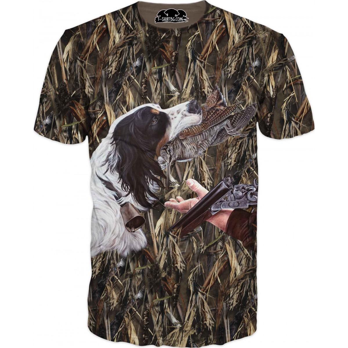 Ловна тениска с куче и пушка на ловец