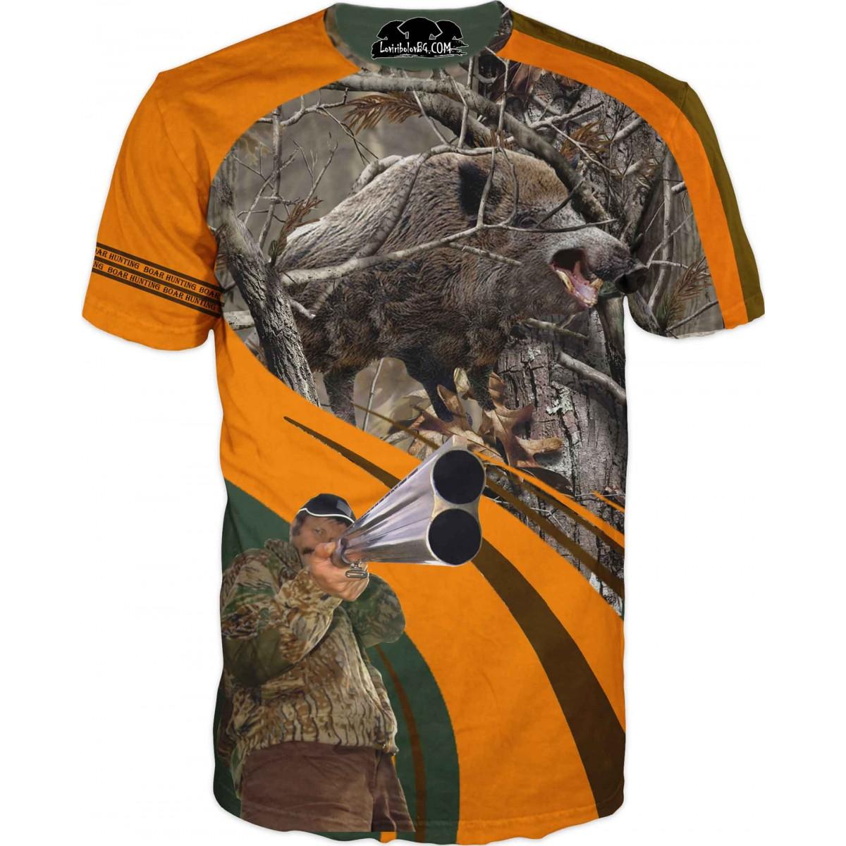 Ловна тениска с глиган и ловец с пушка