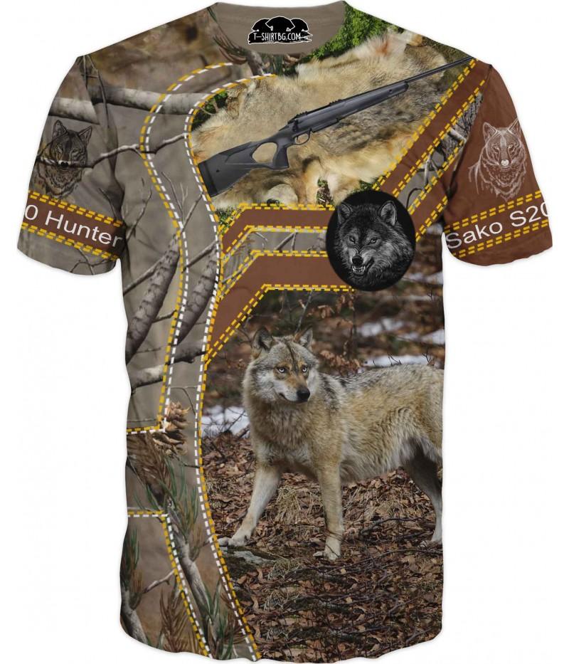 Ловна тениска с вълк и пушка САКО