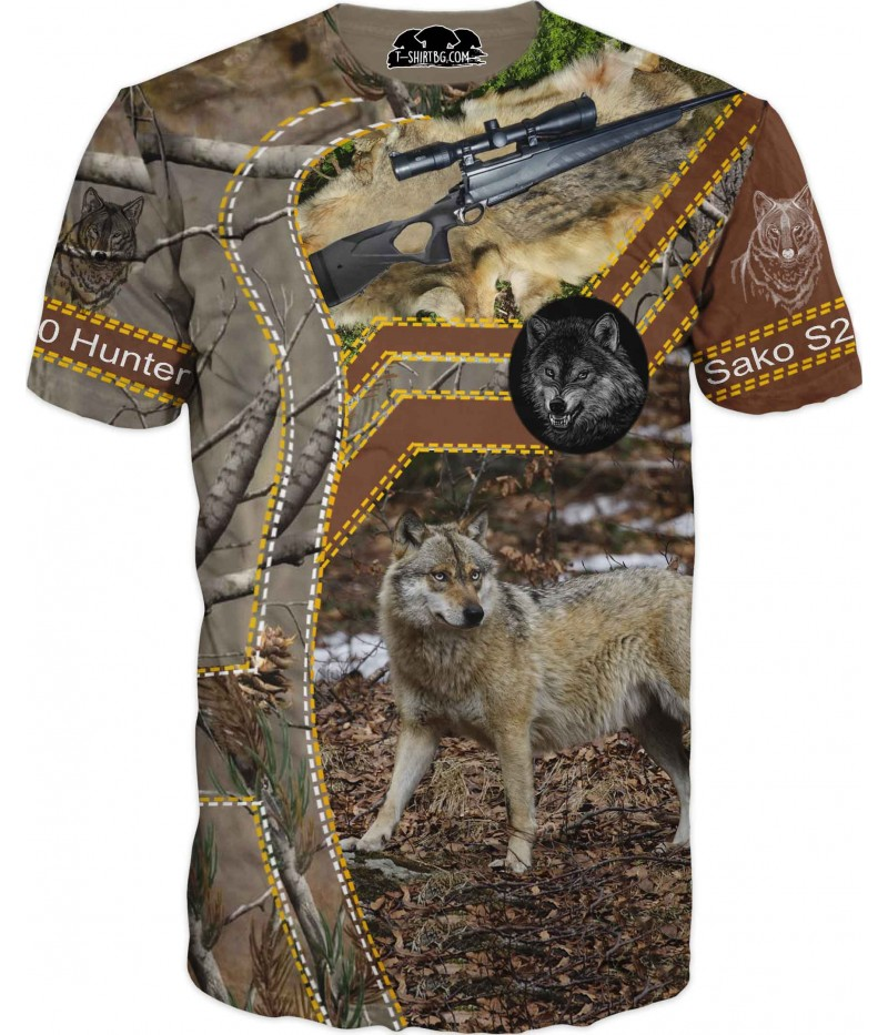 Ловна тениска с вълк - пушка Сако