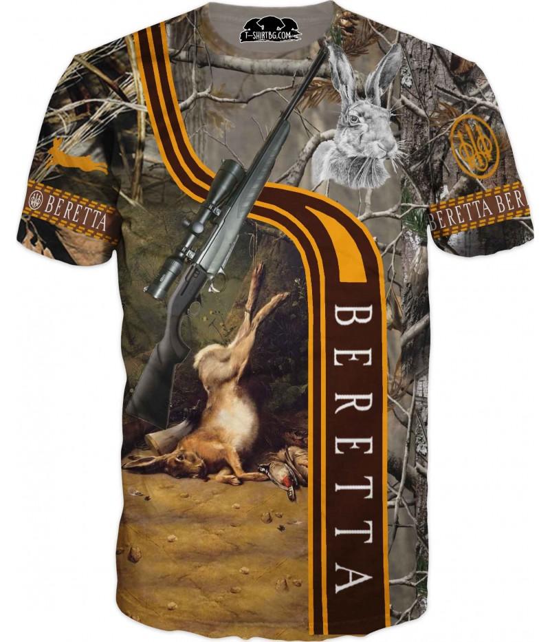 Ловна тениска със заек - пушка Берета